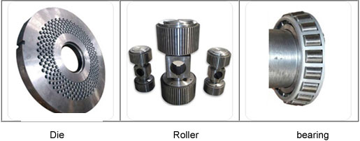 Spare parts for a small pellet mill: die, roller and bearing