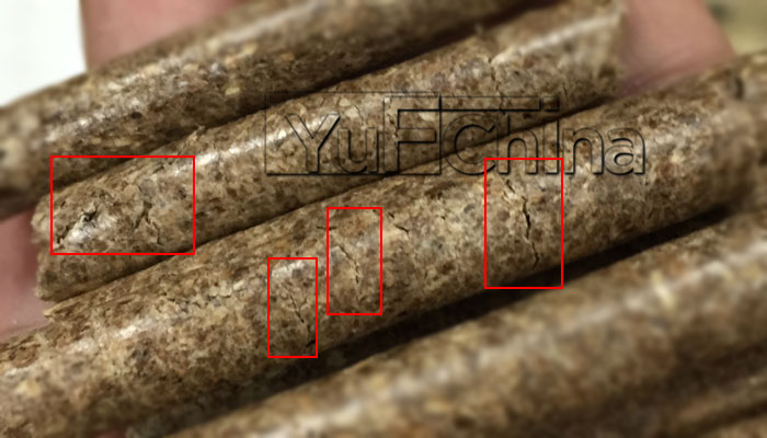 wood pellet with cracks on surface